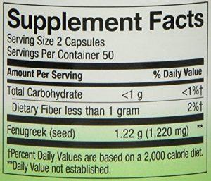 fenugreek supplement facts
