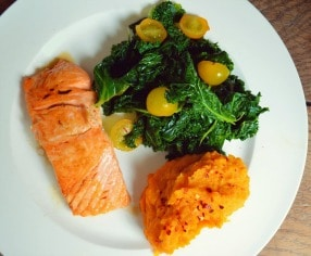 Salmon with Mashed Potatoes and Salad