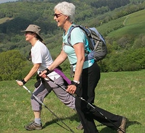 Nordic walking on the hill