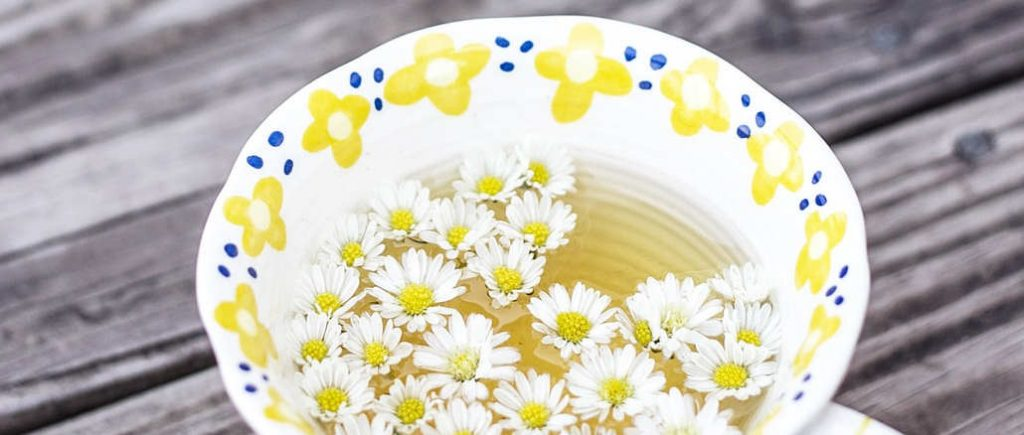 making chamomile tea